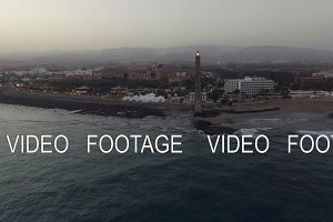 Aerial view of Maspalomas Lighthouse and resort on the coast