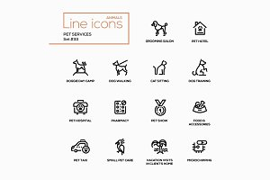 Pet Services - Line Pictograms Set