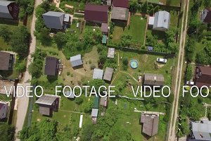 Aerial shot of dacha community in Russia