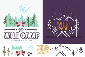 Iconic Camping Linear Badges