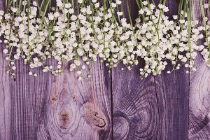 Gray wooden background with flowers