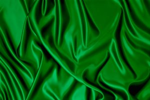 Green satin fabric.