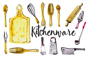 Watercolor kitchenware
