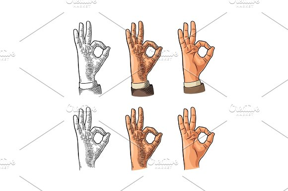 Hand Showing Symbol Okay Vector Color Vintage Engraving And Flat