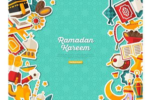 Ramadan Kareem Banner With Vertical Borders