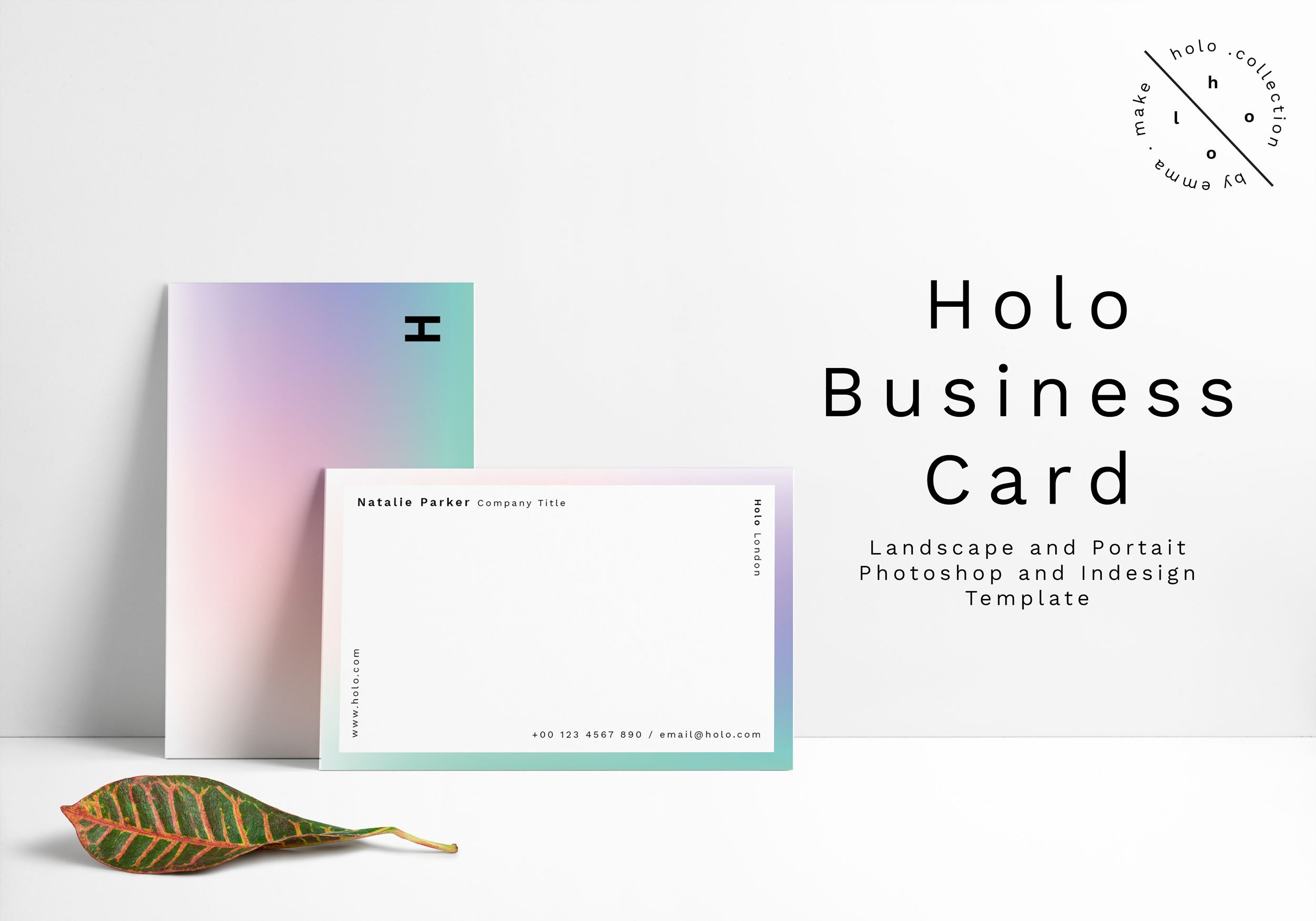 Holo business card design business card templates creative market reheart Gallery