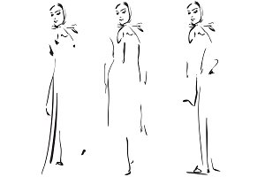 Sketching models. Fashion girls