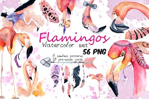 Boho flamingo Watercolor set