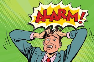 alarm businessman in panic