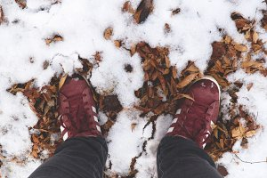foot on the snow