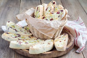 Biscotti with cranberry and pistachio in vine basket