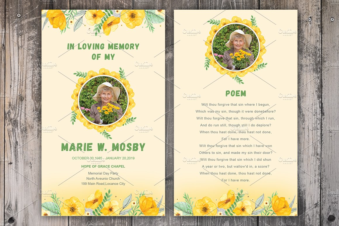 Funeral Prayer Card Template Brochure Templates Creative Market - Prayer card template