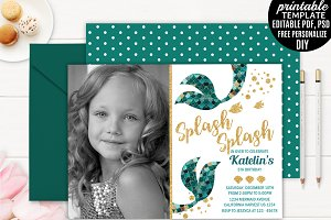 Mermaid Girl Birthday Invitation