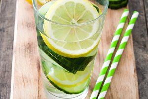 Detox water with cucumber and lemon