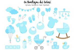 Blue New Baby Boy Clipart