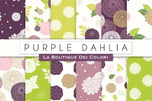 Purple Floral Seamless Digital Paper