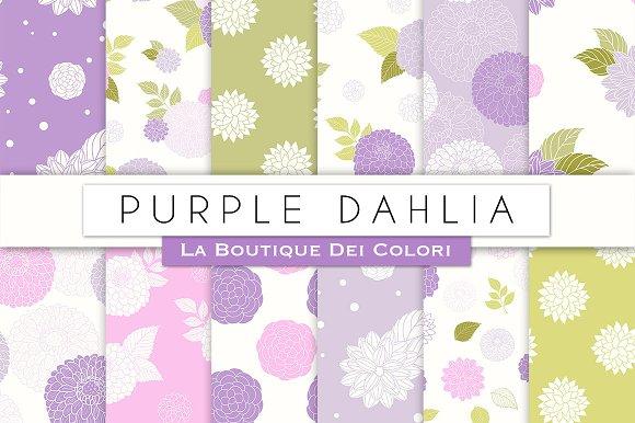Purple Dahlia Seamless Digital Paper