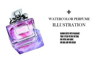 Watercolor Perfume Illustration