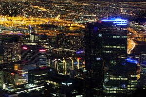 Aerial nightscape of Melbourne