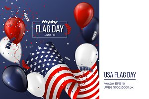 USA flag day holiday design.