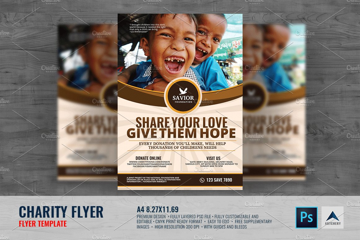 charity flyer template flyer templates creative market. Black Bedroom Furniture Sets. Home Design Ideas