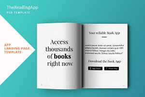 Book App Landing Page PSD Template