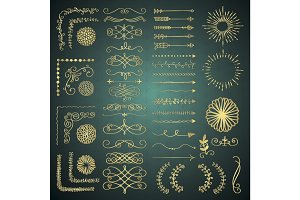 Vector Golden Decorative Hand Drawn Design Elements