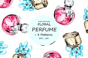 Watercolor floral perfume