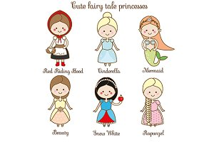 Cute kawaii fairy tales princess