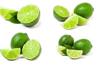 Lime with leaf isolated on white background. Set or collection