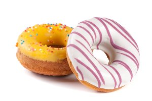 two glazed donut isolated on white background