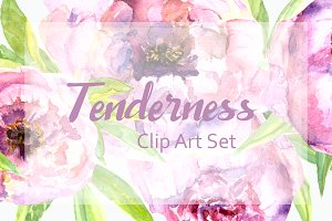 Watercolor Peonies Clip Art Set