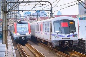 Shanghai underground trains. China