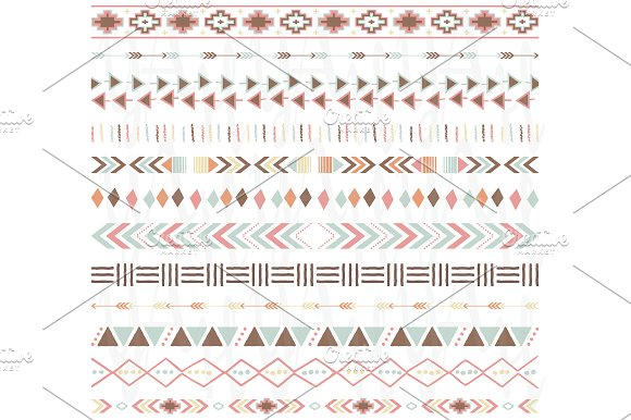 Digital Borders- Tribal Ribbon Set