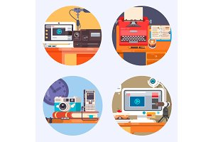 Media Gadget Electronics Technology Concept icon. Flat vector illustration