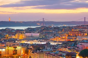 Lisbon panorama at dusk. Portugal