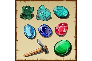Seven types of raw gemstones and kirk