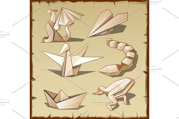 Various Figures From Paper Origami