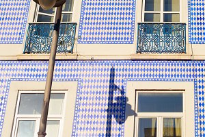 Traditional Portugal tiled facade