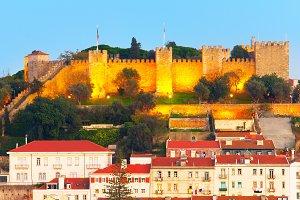 Lisbon Castle at twilight, Portugal