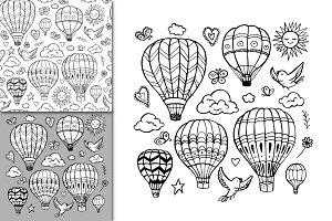 Vector air balloon set + pattern