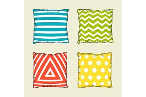 Set of multicolored decorative pillows. Sketch illustration
