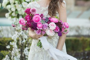Bride with beautiful wedding bouquet