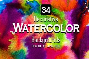 34 Watercolor vector set background.