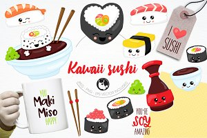 Kawaii sushi illustration pack