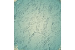 Old blue crumpled paper