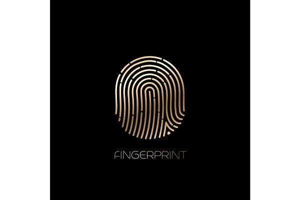 Fingerprint identification icon. Ve…