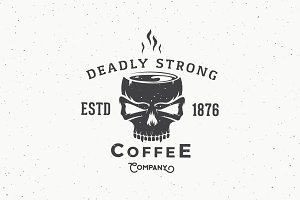 Deadly Strong Coffee Logo Template