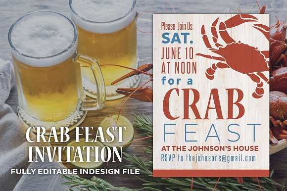 Summer Crab Feast Party Invite