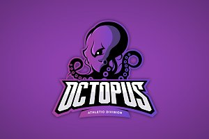 Octopus mascot sport logo design